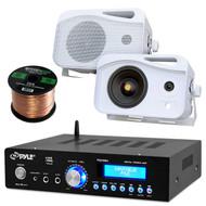Pyle PDA5BU Amplifier Receiver Stereo Bundle With 2 Pyle PLMR26 5'' 500 Watt 3-Way Weather Proof Speakers - Enrock 50ft 16g Speaker Wire