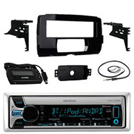"Audio Bundle For 2014 and Up Harley - Kenwood KMR-D765BT Marine CD USB/AUX Bluetooth Stereo Receiver Combo With Installation Dash Kit for Single DIN Radios for Motorcycles, Enrock 22"" AM/FM Antenna"