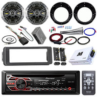 "Pioneer DEH150MP Stereo Receiver Bundle + 2 Kicker 6.5"" Speaker + Motorcycle Speaker Adapters + Class D Amplifier W/ Amp Kit + Dash Trim Kit + Handle Bar Conroller for 98-13 Harley's + Enrock Antenna"