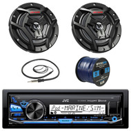 "JVC KDX35MBS Marine Boat Yacht Radio Stereo Receiver Bundle Combo With 2x JVC CS-DR6200M 100-Watt 6.5"" 2-Way Coaxial Speakers + Enrock Radio Antenna + 50 Foot 16g Speaker Wire …"