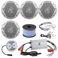 "4 X JBL MS6510 150 Watt 6.5"" Dual Cone White Marine Audio Speakers With 18 Gauge Stereo Marine Grade Speaker Wire (50 feet) And Marine Grade 1200 Watt Amp Bluetooth 4-Channel Amplifier"