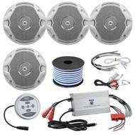 "4 X JBL MS6510 150 Watt 6.5"" Dual Cone White Marine Audio Speakers With 18 Gauge Stereo Marine Grade Speaker Wire (50 feet) And Marine Grade 1200 Watt Amp Bluetooth 4-Channel Amplifier"