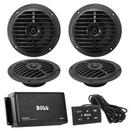 "Marine Speaker And Amp Combo Of Boss Audio MC900B 4-Channel Bluetooth Micro Class AB Boat Amplifier With Remote Bundle With 4x Enrock EKMSB65 120-Watt 6.5"" Inch Waterproof Boat Marine Black Speakers"