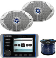 "This Package Bundle Combo Includes: Kicker KMC10 Marine Boat Yacht All In One Bluetooth Stereo Radio Receiver + 2x JBL MS9520 6x9"" Inch 2-Way White Coaxial Marine Boat Speakers + Enrock 50 Foot 16g Speaker Wire …"