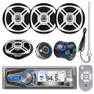 "Dual Electronics AM615BT 3"" LCD Marine Bluetooth CD Stereo Receiver Bundle Combo W/ Waterproof Wired Remote Control + 4X Enrock Black/Chrome 6.5"" Stereo Speakers +Radio Antenna + 50Ft 16g Speaker Wire"