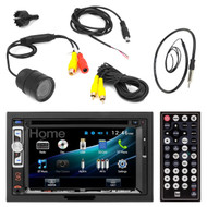 """Dual DV526BT 6.2"""" Inch Touchscreen Double-DIN CD DVD Player Car Stereo Receiver - Bundle Combo With License Plate Mount Rear View Colored Backup Parking Camera + Enrock 22"""" AM/FM Radio Antenna"""