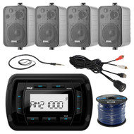Pyle PATVR10 MP3 Bluetooth Marine Boat Yacht Stereo Receiver Bundle Combo With 4x Enrock Black 4'' Inch 200-Watt Waterproof Stereo Box Speaker + Radio Antenna + USB/AUX To RCA Cable + 18G 50-FT Wire