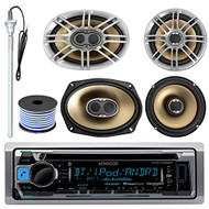"Kenwood KMR-D368BT MP3/USB/AUX CD Bluetooth Marine Boat Stereo Receiver Bundle Combo W/ 2 Polk 6.5"" Audio Speakers + 2x 6X9"" 3-Way Coaxial Speaker + Enrock 22"" Radio Antenna + 50FT Speaker Wire"