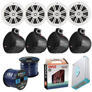 "Speaker Package Of 4 Kicker 41KM604W White 6.5"" Boat Coaxial Speaker + 4 Black PLMRB65 6.5"" Marine Wake board Speakers + Lanzar 4800w Bluetooth Amplifier With Install Kit + Enrock 100ft Speaker Wire"