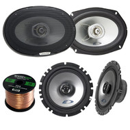 "2x Alpine SXE-1725S 6.5"" 80 Watt 2-Way Coaxial Car Audio Speakers Bundle Combo With 2x SXE-6925S 6x9 Inch 280 Watts 2-Way Vehicle Speaker - 1 Enrock 50 Feet 16 Gauge Speaker Wire - 4 Speakers"