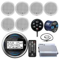"Dual Electronic MGH25BT Marine Bluetooth Gauge Style Digital Media Receiver Bundle Combo W/ 6x DMP670 Poly Marinized 100W 6.5"" Speaker + 400 Watt Amplifier + Enrock Radio Antenna + 50-ft Speaker Wire"
