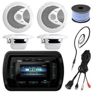 Pyle PATVR14 MP3/MP5 Bluetooth Marine Boat Yacht Stereo Receiver Bundle Combo With 4x White 6-1/2'' Dual Cone Waterproof Stereo Speaker + Enrock Radio Antenna + USB/AUX To RCA Cable +18G 50-FT Wire