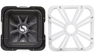 """Package: Kicker 11S12L7-2 12"""" 1500 Watt Dual 2 Ohm Solo Baric L7 Subwoofer w/ Non Resonant Aluminum Basket + Kicker 11L712GLW 12"""" White Grille With LED Lighting For SoloBaric 11S12L7 Subwoofer"""