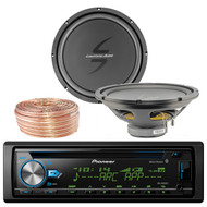 Pioneer DEH-X6900BT Car CD Player Receiver Bluetooth USB AUX Radio - Bundle Combo With 2x 12-Inch Dual 4-Ohm Single Voice Coil Subwoofer + Enrock 50 Foot 18 Gauge Wire