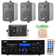 """Pyle PDA6BU 200-Watt 2-Channel Digital USB/AUX AM/FM Radio Stereo Amplifier Receiver, Bundle Combo With 4x Enrock EKMR408B 4"""" Inch 200-Watt 3-Way Black Box Speakers + 50 Feet 18-Gauge Speaker Wire"""