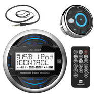 "Dual Electronics MGH25BT Marine Boat Yacht Bluetooth Gauge Style Digital Media Receiver Bundle Combo With MWR15 Waterproof Wired Remote Control + Enrock 22"" Radio Antenna"