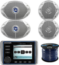 "This Package Bundle Combo Includes: Kicker KMC10 Marine Boat Yacht Bluetooth Stereo Radio Receiver + 2x JBL MS9520 6x9"" 2-Way White Coaxial Marine Speakers + 2x JBL MS6510 6.5"" Speakers + Enrock 50 Foot 16g Speaker Wire"