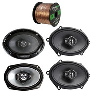"2 Pair Car Speaker Package Of 2x Kenwood KFC-C5795PS 5x7"" 360W 3-Way Flush Mount Coaxial Speakers + 2x KFC6966S 6x9"" 400 Watt 3-Way Audio Speaker + Enrock 16g 50 Ft Speaker Wire"