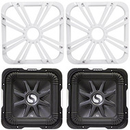 """Package: (2) Kicker 11S12L7-2 12"""" Dual 2 Ohm Solo Baric L7 Subwoofers Totaling 3000 Watt + (2) Kicker 11L712GLW 12"""" White Grilles With LED Lighting For SoloBaric 11S12L7 Subwoofer"""