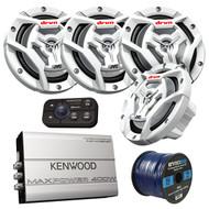 """Marine Speaker And Amp Package: 4x JVC CS-DR6201MW 300-Watt 6.5"""" 2-Way Coaxial Speakers Bundle Combo With Kenwood 400-Watt 4-Channel Black Waterproof Bluetooth Amplifier + 50Ft 16g Speaker Wire …"""