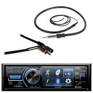 "JVC KD-AV41BT 3"" LCD Display Bluetooth Car CD DVD USB Stereo Multimedia Receiver Bundle Combo With Enrock 22"" AM/FM Radio Antenna + Metra 40-GM10 Antenna Adapter For 1988-2006 GM Vehicles"