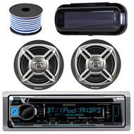 "Kenwood Bluetooth CD Radio Receiver KMR-D368BT In-Dash Marine Boat Audio Bundle With Pair Of Enrock 6.5"" Dual-Cone Stereo Speakers + Stereo Waterproof Cover + 18g 50FT Speaker Wire (Black / Chrome)"