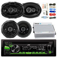 "JVC KDR680S Car Radio USB AUX CD Player Receiver - Bundle Kit With 2 Kicker DSC69304 6x9"" Coaxial 3-Way Car Speaker + 2x DSC654 6.5"" 2-Way Speaker + 4-Channel Bluetooth Amplifier + Amp Kit"