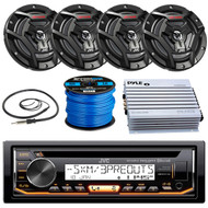 """JVC KD-R99MBS Marine Boat Yacht Radio Stereo CD Player Receiver Bundle Combo With 4x JVC CS-DR6200M 6.5"""" 2-Way Coaxial Speakers + 400-Watt Amplifier + Enrock Radio Antenna + 50 Foot 16g Speaker Wire …"""