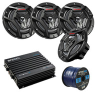 "Marine Speaker And Amp Package: 4x JVC CS-DR6200M 100-Watt 6.5"" 2-Way Coaxial Speakers Bundle Combo With Enrock 400-Watt 4-Channel Black Waterproof Bluetooth Amplifier + 50Ft 16g Speaker Wire …"
