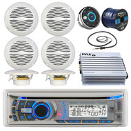 """Dual AMB600W Marine Boat Bluetooth CD/MP3 Stereo Receiver Bundle Combo With Waterproof Wired Remote Control + 6x Magnadyne 6.5"""" Speaker + 400 Watt Amplifier + Enrock Radio Antenna + 50-ft Speaker Wire"""