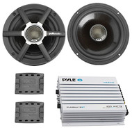 "Marine Speaker And Amp Combo Of 4x Polk Audio MM651 6.5"" Inch 2-Way Ultra Car Motorcycle Marine Boat Yacht Speakers Bundle With 400 Watt 4-Channel Bluetooth Car/Marine Grade Waterproof Amplifier"