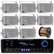 Pyle PT390BTU Bluetooth Digital Home Theater 300-Watt Stereo Receiver, PLMR24S Pyle 3.5'' 200 Watt 3-Way Weather Proof Mini Box Speaker System (Silver), Enrock Audio 16-Gauge Speaker Wire - 100 Feet