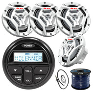 "Milenna PRV17 Gauge Style Marine Boat Yacht Radio Stereo Receiver Bundle Combo With 4x JVC CS-DR6201MW 300-Watt 6.5"" 2-Way Coaxial Speakers + Enrock Radio Antenna + 50 Foot 16g Speaker Wire …"