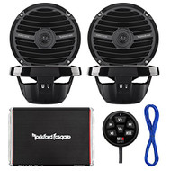"""Marine Speaker And Amp Combo Of 4x Rockford Fosgate RM0652 6.5"""" Marine Audio Speakers Bundle With a 300-Watt 4-Channel Boosted Rail Amplifier W/ Bluetooth preamp controller + 50Ft 16g Speaker Wire (White)"""