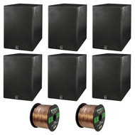 Home Theatre Speaker Package Of 6x Dual Electronics LS205EB Black Wood Grain Bookshelf Indoor/Outdoor Box Speakers + Enrock 50 Feet 16-Guage Speaker Wire