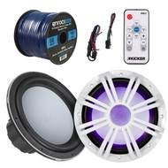 Kicker 43KMW102 KMW10 10-Inch Marine Subwoofer, Kicker 43KMW10GLW 10-Inch White Subwoofer LED Grille, Kicker 41KMLC Marine LED Light Remote Controller, EnrockMarine 16 Gauge 50 Feet Tin Plated OFC Speaker Wire Cable corrosion resistant jacket