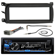 JVC KD-RD87BT Bluetooth iPod Android USB/MP3/WMA CD Player Stereo Receiver, Metra 99-6503 Dash Installation Kit, Metra 40-CR10 Antenna Adapter Cable, Metra 70-6502 Radio Wiring Harness 4 Speaker, EKMR1 Enrock Marine Black Wire Antenna