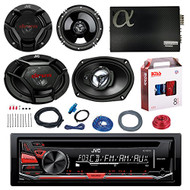 "JVC KD-R370 CD/MP3 AM/FM Radio Player Car Receiver Bundle Combo With 2x JVC 300W 6.5"" 2-Way Car Audio Speakers + 2x 6x9"" 3-Way Stereo Speaker + 2400 Watt Class A/B Amplifier + Boss 8g Amp Install Kit"