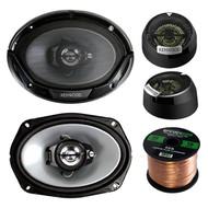 """2 Pair Car Speaker Package Of 2x Kenwood KFC6966S 6x9"""" 400 Watt 3-Way Black Audio Speaker Bundle With Kenwood KFC-ST01 1"""" Inch 160-Watt Car Dome Tweeters + Enrock 16g 50 Ft Speaker Wire"""