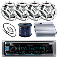 "Kenwood KMR-D368BT Marine Boat Yacht Radio Stereo CD Player Receiver Bundle Combo With 4x JVC CS-DR6201MW 6.5"" 2-Way Coaxial Speakers + 360-Watt Amplifier + Enrock Radio Antenna + 50 Foot 16g Speaker Wire"