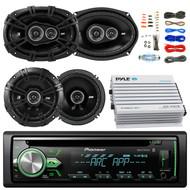 "Pioneer DEH-X4900BT Car Bluetooth Radio USB AUX CD Player Receiver - Bundle Kit With 2 Kicker DSC69304 6x9"" Coaxial 3-Way Car Speaker + 2x DSC654 6.5"" 2-Way Speaker + 4-Channel Amplifier + Amp Kit"