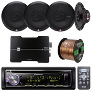 "Pioneer DEHX-6900BT Bluetooth Car In Dash CD MP3 Stereo Receiver Bundle Combo With 4 Rockford Fosgate R165X3 Prime 6.5"" Inch 180 Watt 3-Way Full-Range Coaxial Speaker + 4-Channel Amplifier + 50Ft Wire"