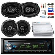 "Pioneer DEH-X6900BT Car Bluetooth Radio USB AUX CD Player Receiver - Bundle Kit With 2 Kicker DSC69304 6x9"" Coaxial 3-Way Car Speaker + 2x DSC654 6.5"" 2-Way Speaker + 4-Channel Amplifier + Amp Kit"