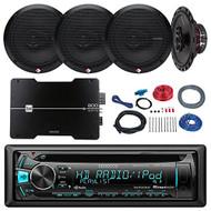 """Kenwood KDC-MP262U Car In Dash CD MP3 Player Bundle Combo With 2x Rockford Fosgate 6.5"""" 180 Watt 3-Way Full-Range Coaxial Speaker + 2x 6x9"""" Audio Speaker + 800Watt 4 Channel Amplifier + 50Ft 16g Speaker Wire"""