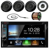"""Kenwood DDX6703S 6.2"""" Double-DIN CD DVD Bluetooth Car Stereo Receiver - Bundle Combo With 4x 6 1/2"""" 2-Way Flush Mount Coaxial Black Car Speakers + Enrock 50Ft 16g Speaker Wire + Radio Antenna"""