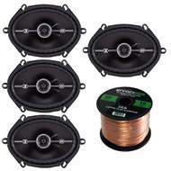 """Kicker 41DSC684 D-Series 6x8"""" 400 Watt 2-Way 4-Ohm Car Audio Coaxial Speakers, Enrock Audio 16-Gauge 50 Foot Speaker Wire"""