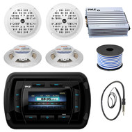 Pyle PATVR14 MP3 MP5 Bluetooth Marine Boat Yacht Stereo Receiver Bundle Combo With 4x White 5-1/4'' Inch Dual Cone Waterproof Stereo Speaker + Enrock Radio Antenna + 400 Watt Amplifier +18G 50-FT Wire