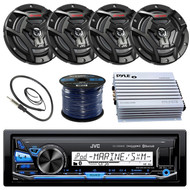 "JVC KDX35MBS Marine Boat Yacht Radio Stereo Receiver Bundle Combo With 4x JVC CS-DR6200M 6.5"" 2-Way Coaxial Speakers + 400-Watt Amplifier + Enrock Radio Antenna + 50 Foot 16g Speaker Wire …"
