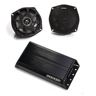 Kicker Motorcycle 5.25 Inch Speaker with Kicker 200 watt Power sports amplifier.
