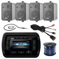 Pyle PATVR14 MP3/MP5 Bluetooth Marine Boat Yacht Stereo Receiver Bundle Combo With 4x Enrock Black 4'' 200-Watt Waterproof Stereo Box Speaker + Radio Antenna + USB/AUX To RCA Cable + 18G 50-FT Wire